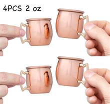 4pcs Mini 2-Ounce Stainless Steel Moscow Mule Mug Copper Shot Mugs