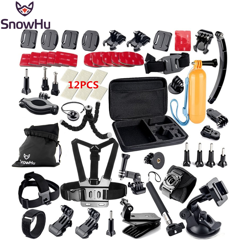 SnowHu for Gopro hero 5 4 Accessories Set Helmet Chest Belt Strap tripod Monopod For Gopro