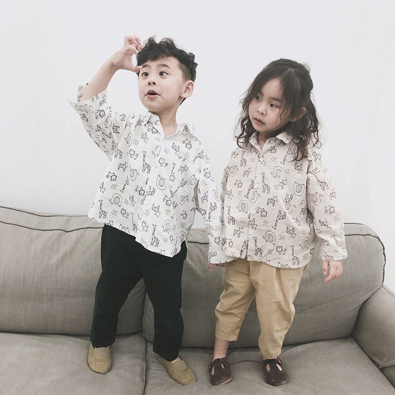 Baby Girl Clothes 2019 Spring Autumn New Toddler Boys Printed Tee Shirt Children's Long Sleeve Turn-down Collar Blouse Top Tees