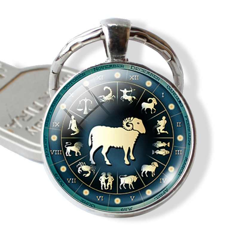 12 Constellation Jewelry Key Chains Zodiac Signs Keychain Key Rings Bag Car Round Glass Cabochon Pendant Man Woman Gift