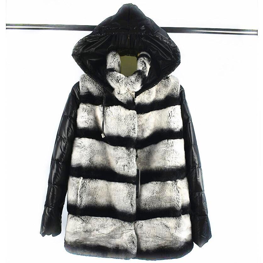 2018 dames nouveau naturel rex manteau de fourrure manches amovible portant chapeau manteau trois-en-un variable gilet d'hiver chaud mode casual E