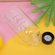 600ml/1000ml Fashion Literary Water Bottle with Bag Water Bottle Capacity Portable BPA Free Fruit Lemon Juice Drinking Bottle