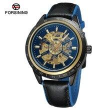 2019 高級ブランドメンズ機械式時計オートバイデザイン透明赤、黒ベルト防水メンズ腕時計自動 Forsining