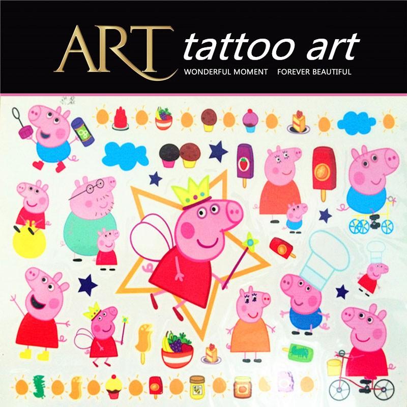 Pinky Pigs Family Child Temporary Tattoo Body Art Flash Tattoo Stickers Waterproof Henna Tatoo Car Styling Wall Sticker 9