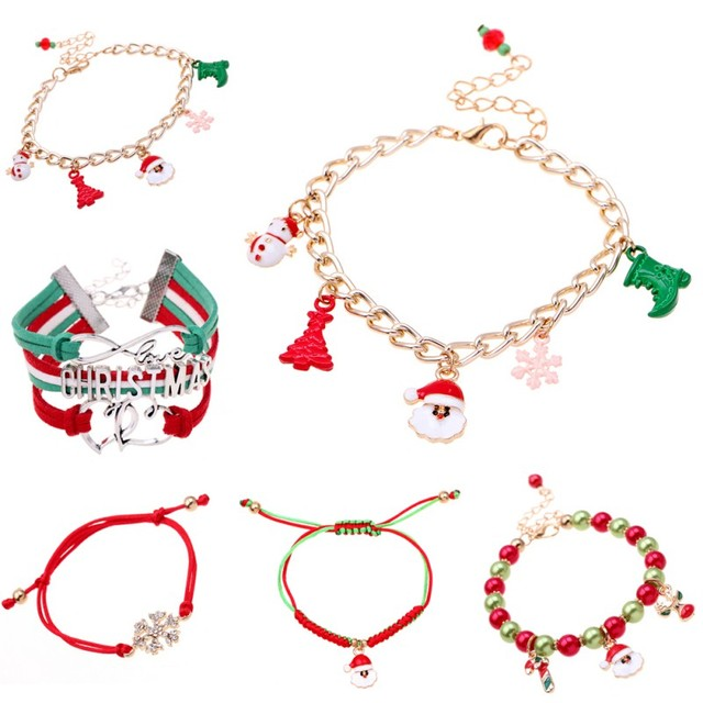 Us 0 49 24 Off 2018 Fashion Christmas Bracelet Women 6 Styles Sweet Bracelets Hollow Snowflake Bell Sleigh Tree Who In Charm