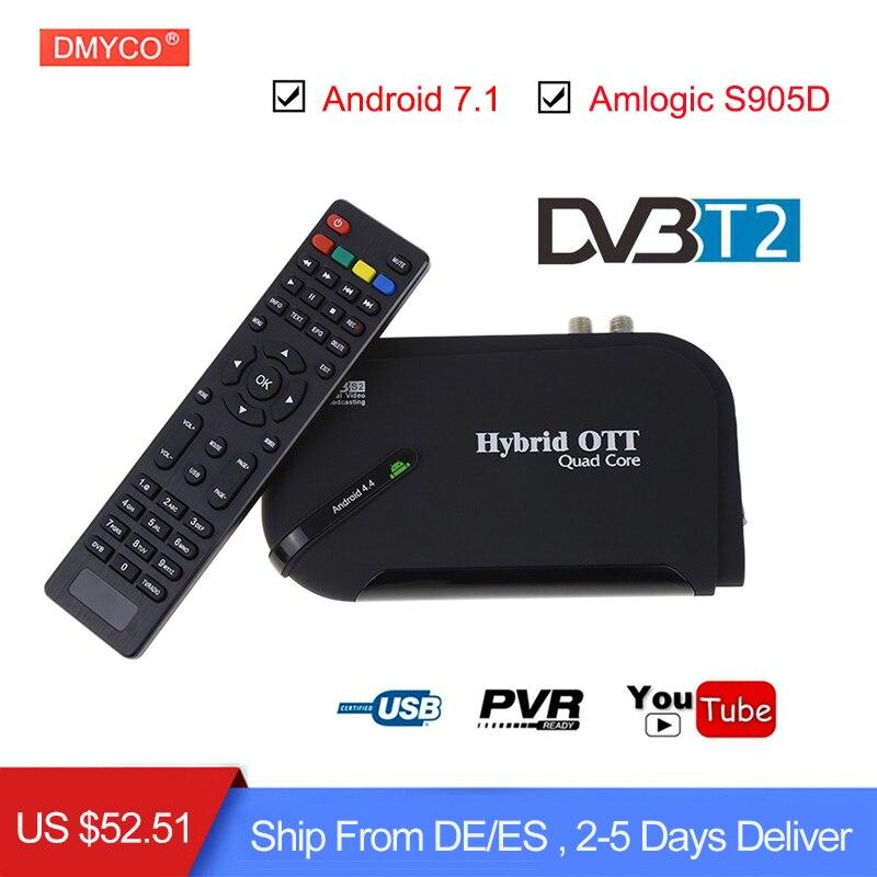 DMYCO DVB-T2 Android 5.1 TV Box 1GB/8GB ROM Amlogic S905 Quad-core 4K 2.4G Wifi Bluetooth Smart TV Box DVB-T2 H.265 Set Top Box android 7 1 1gb 8gb dvb t2 quad core ott bt4 0 h 265 mpeg 4 dvb t2 tv tuner support netflix youtube google 4k smart set top box