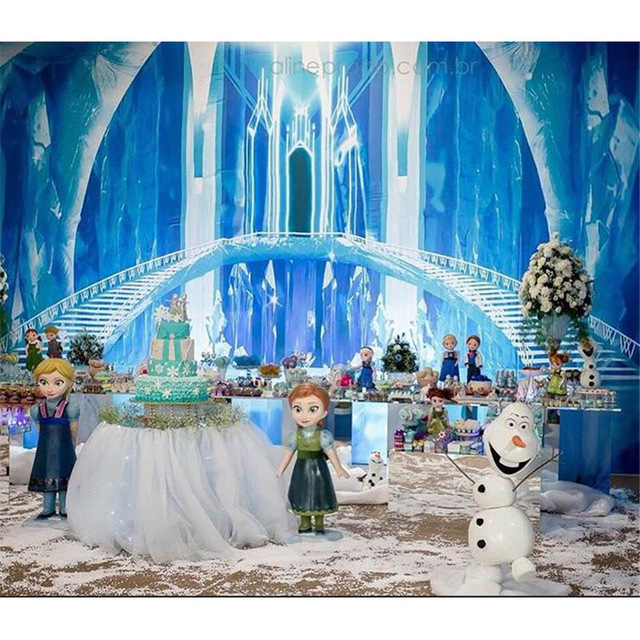 200X200CM Vinyl Blue Frozen Palace Backdrop Photography Stairs Ice Kids Children Birthday Party Photo Backgroud