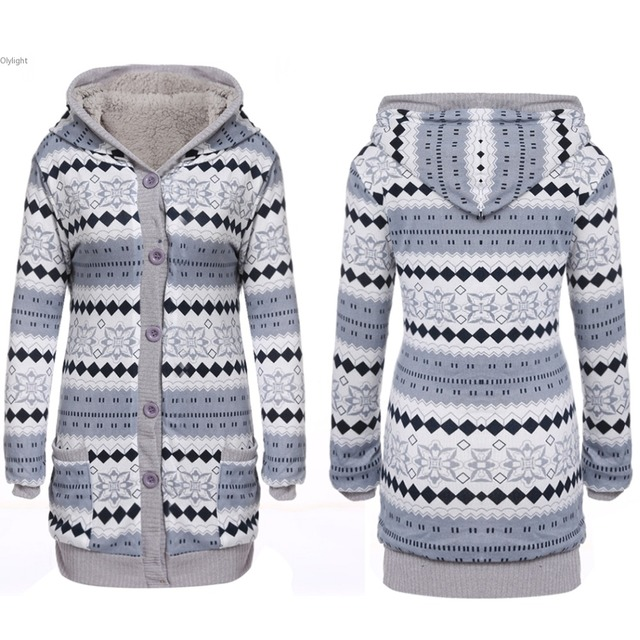 Women winter cotton lining sweater thick warm hooded sweaters coat ...