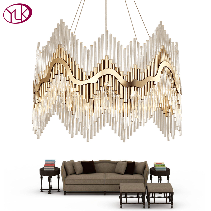 Youlaike Luxury Modern Crystal Chandelier Gold Hanging Living Dining Room Lighting Fixture Luxury LED Lustres De Cristal top sale luxury modern crystal chandelier for living room rectangle led lustres de cristal lamp long dining room light fixture