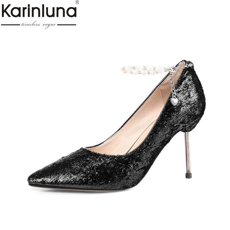 Karinluna Pointed Toe Sexy Thin Heels womens Pumps 2019 Brand New Large Size 43 Elegant Office Lady womens ShoesKarinluna Pointed Toe Sexy Thin Heels womens Pumps 2019 Brand New Large Size 43 Elegant Office Lady womens Shoes