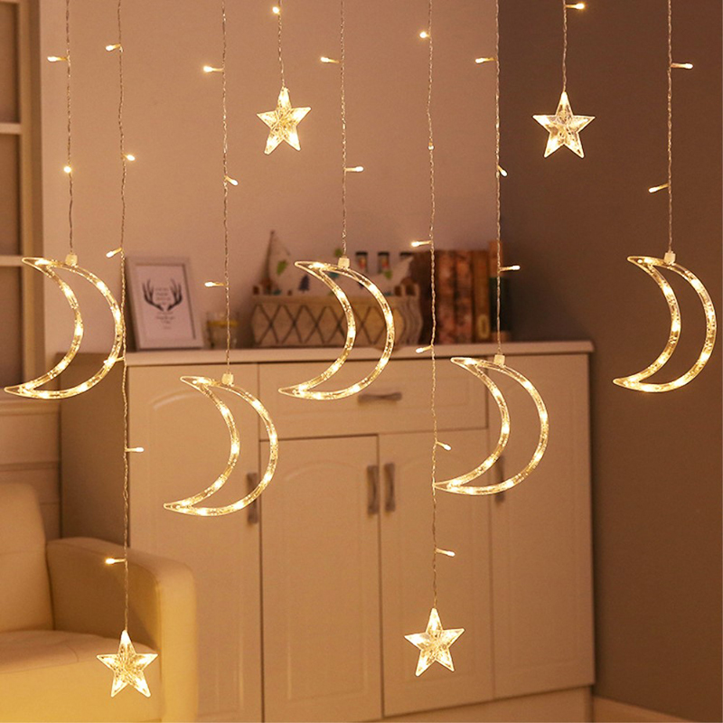 Star Moon 3.5M String Lights Indoor Room Decoration LED Curtain Light USB Battery Powered Wedding Party Fairy Light Chain SL076Star Moon 3.5M String Lights Indoor Room Decoration LED Curtain Light USB Battery Powered Wedding Party Fairy Light Chain SL076