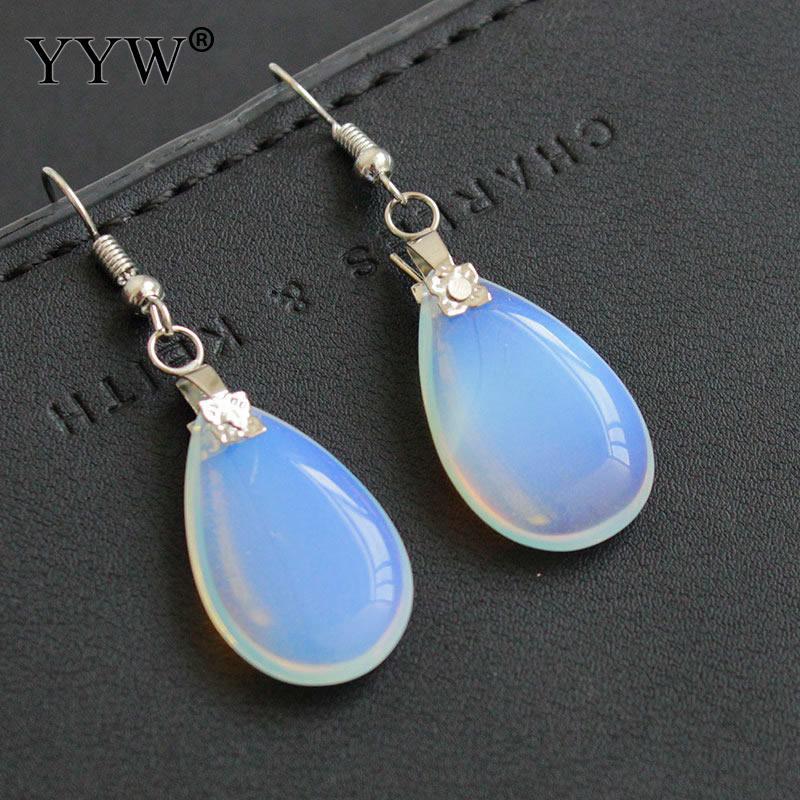 YYW Hot Sale Wholesale Jewelry Moonstone Teardrop Earrings White Sea Opal Drop Dangle Earrings for Women