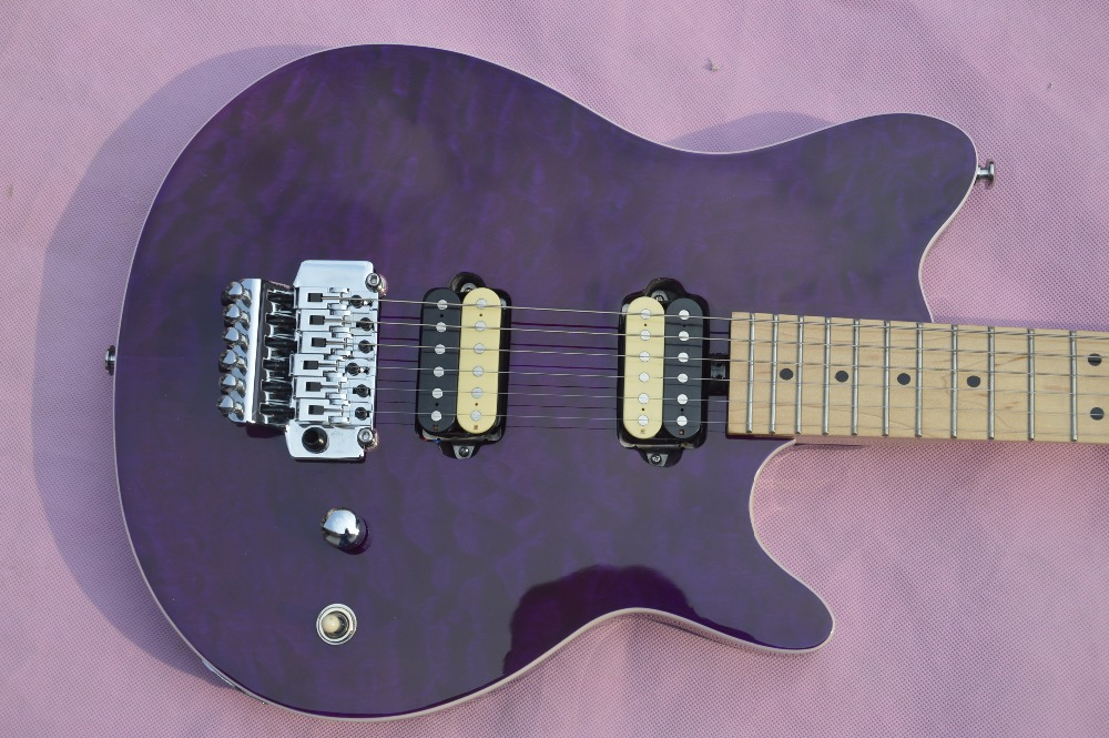 Custom Shop Purple Evh Wolfgang Electric Guitar Floyd Rose Vintage Silver Guitar China Kit and Body Available high quality custom shop lp jazz hollow body electric guitar vibrato system rosewood fingerboard mahogany body guitar