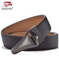 DINISITON Men S Silicone Rubber Genuine Leather Belt Male Formal Suit Trousers Smooth Buckle Metal Starp