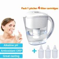 3.5L Best Home Water Purifier Alkaline Water Pitcher Filters System Plus 4x Replacement Filters Filtro de jarra de agua
