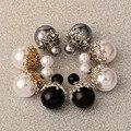 Classic Black/White/Gray Ball Double Sided Stud Earring White/Gold Plated Crystal Earring For Women Latest Korean Desgin ES033