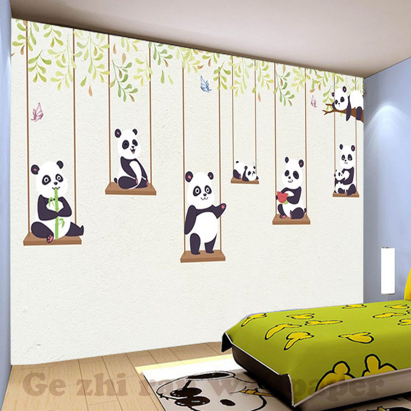 Custom 3D Mural Wallpaper children Room wall covering Wallpaper 3D Cartoon Lovely Panda 3D kid Photo