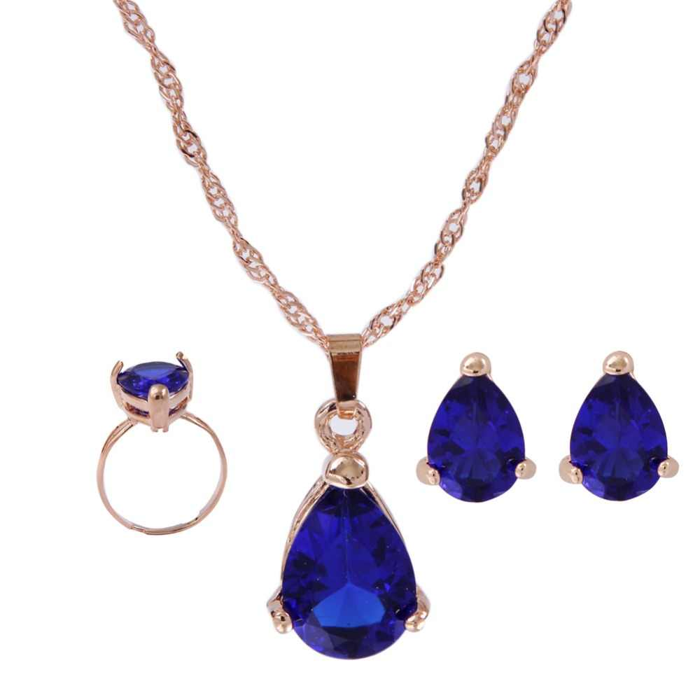 Fashion Austria Crystal Water Drop Earrings Necklace Ring Jewelry Sets For Women Party Acessories