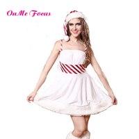 Costume Sexy Lingerie Women Santa Claus Cosplay White Velvet Christmas Costume Open Back Style Dress with Leg Warmer