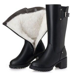 Image 2 - DRKANOL botas de nieve cálidas de piel de lana Natural para mujer, zapatos planos de invierno, botas de media caña de cuero genuino, impermeables, color negro, talla grande 35 43