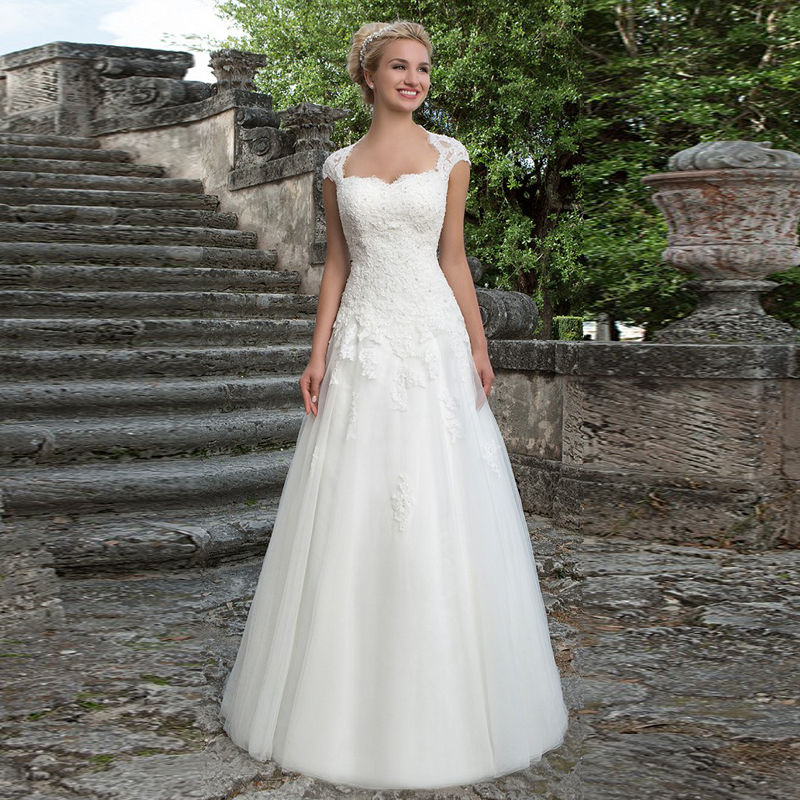 Wedding Gowns With Cap Sleeves: Dramatic Tulle A Line Sweetheart Cap Sleeves Appliques