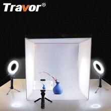 Taşınabilir Softbox 40*40CM ışık kutusu stüdyo LED fotoğraf ışık kutusu ile 3 renkler arka plan masa fotoğrafçılığı LED aydınlatma kutusu