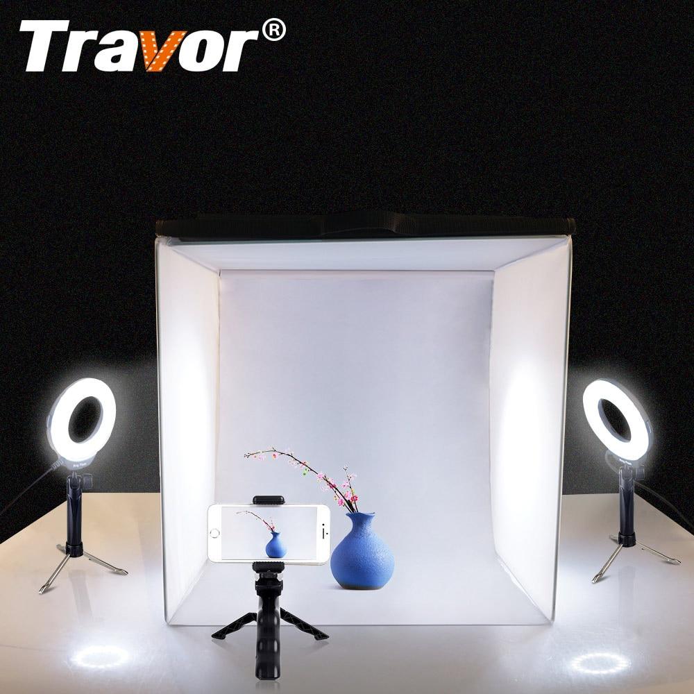 Travor Dobrável Caixa de Luz Softbox Estúdio 40*40 CM Com 2 PCS LED Ring Light/3 PCS Mini tripé Para A Câmera Do Telefone Fotografia Lightbox