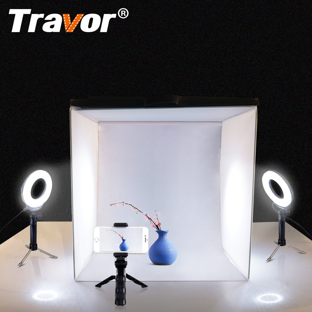Travor caja de luz plegable estudio Softbox 40*40 cm con piezas 2 piezas anillo de luz LED piezas/3 piezas Mini trípode para cámara teléfono fotografía Lightbox
