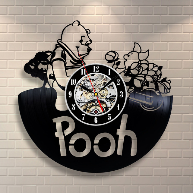 CD Vinyl Record Wall Clock Vintage Winnie the Pooh Cartoon Theme Decorative Black Art Watch Handmake Duvar Saati Home Decor