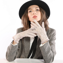 Women PU Leather Gloves Carved Print Thicken Warm Touch Screen Glove Elegant Full Finger Fashion Accessories