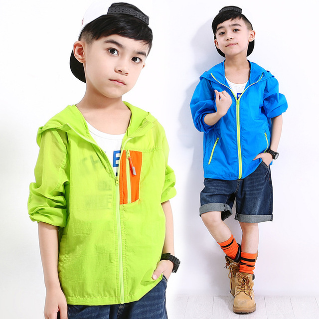 990088008bea children sunscreen coat clothing solid hooded spring summer 2018 ...