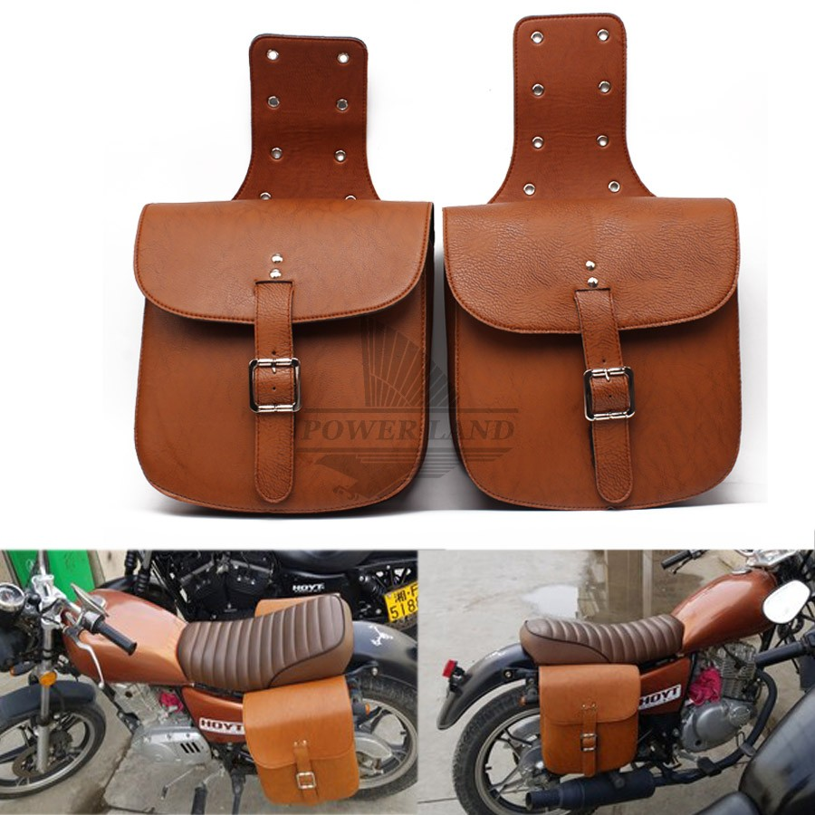 1pair Motorbike Brown Saddlebags Pu Leather Swingarm Bag Saddle
