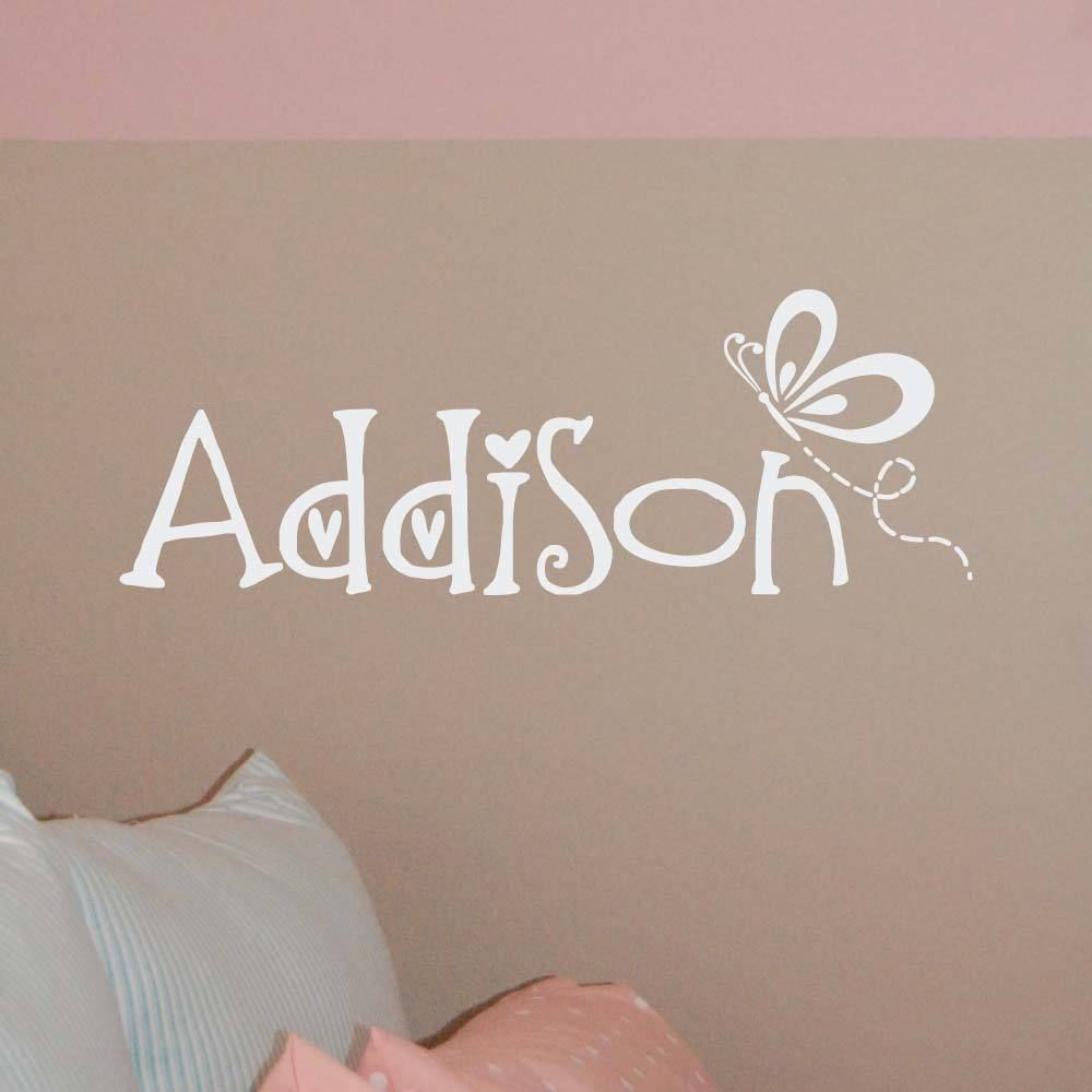 family stickers butterfly w name monogram wall decal vinyl lettering girl bedroom wall art decor