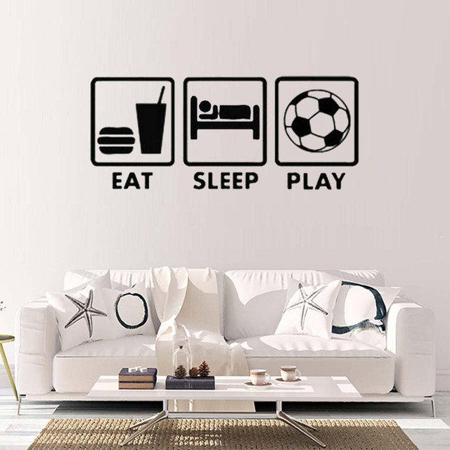 Eat Sleep Play Quotes Relaxing Lifstyle Wall Sticker With The