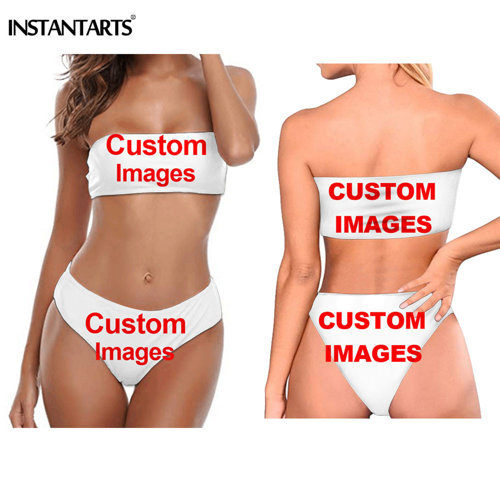 INSTANTARTS Customize <font><b>3D</b></font> Printing Women <font><b>Bikini</b></font> Set 2019 Summer Beach Strapless Swimwear Bandeau Top High Waist Bottom Swim Suit image
