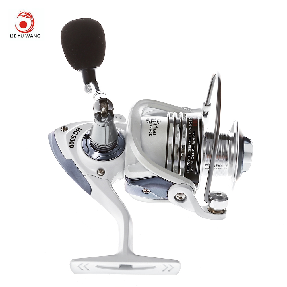 LIEYUWANG 13 + 1BB 5:1 Spinning Fishing Reel Full Metal Fishing Reel with Exchangeable Handle Automatic folding for Casting Line