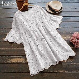 زائد حجم الصيف تونك المرأة التطريز بلوزة 2019 ZANZEA امرأة الجوف Blusas نصف كشكش كم قميص الإناث عارضة قمصان