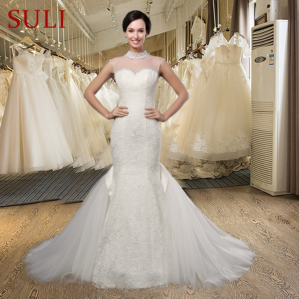 Elegant Romantic Wedding Gowns: SL008 Elegant Sweet Lace Appliques Mermaid Wedding Dress