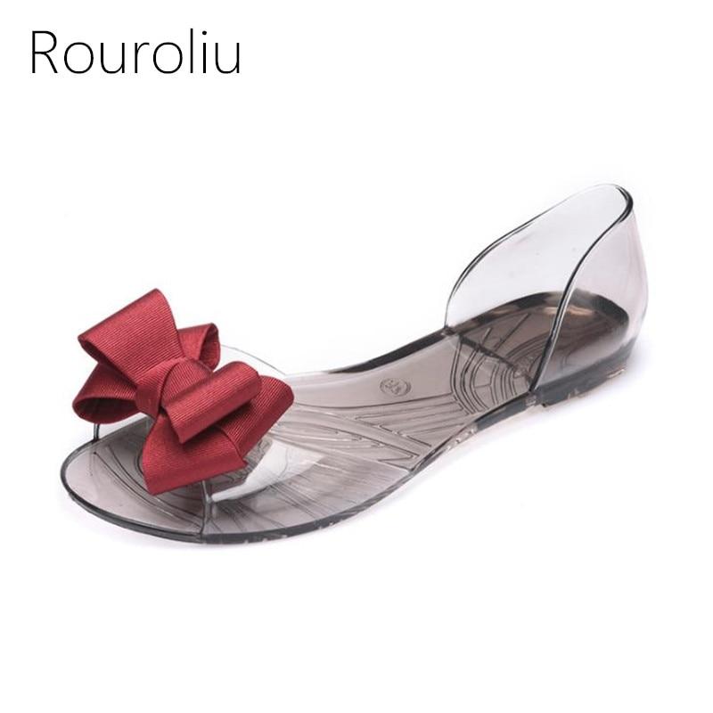 Rouroliu Women Summer Fashion Bowknot Peep Toe Casual Beach Sandals Comfortable Non-Slip Flat Heel Jelly Shoes Woman RB253