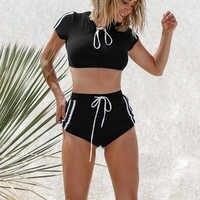 Novo Biquíni Sexy T-Shirt de Duas Peças Swimsuit Swimwear Mulheres Push Up Tankini Set Biquini Traje De Bano Biquínis 2019 Mujer mujer
