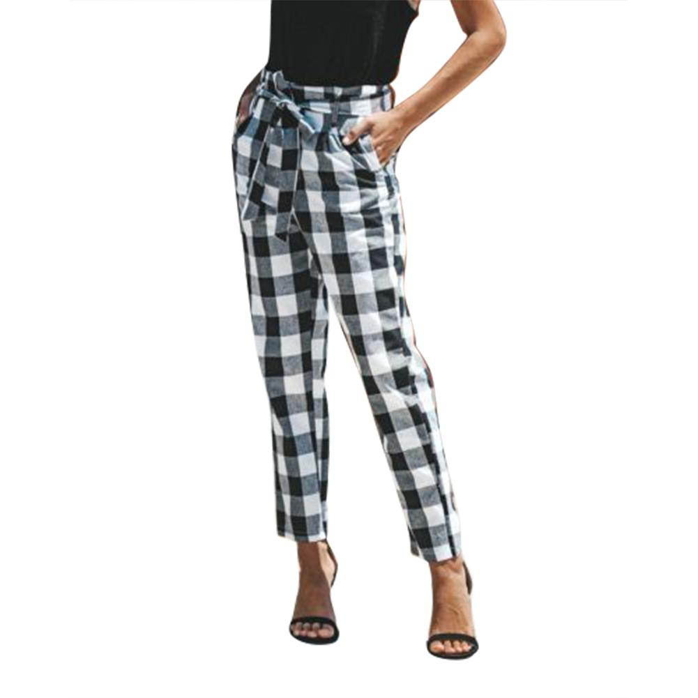 Women Plaid Trousers High Waist Pencil Pants Bow Tie Drawstring Elastic Waist Pockets Casual Pleated Pantacourt Red Plaid Pants