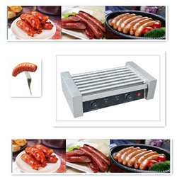 110V 220V Commercial Electric Sausage Hot Dog Roller Stainless Steel 7 Roller Grill Baked Ham Sausage Machine 7 Roller EU/AU/UK