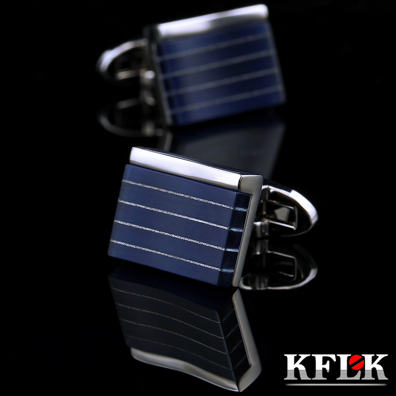 KFLK Jewelry Shirt Cufflinks For Mens Designer Brand Cuffs Links Fashion Buttons Blue High Quality Luxury Wedding Free Shipping