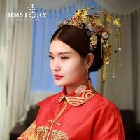 Estilo Tradicional chinês Do Vintage Phoenix Coronet Borla Fecho Cabelo Cheongsam Noiva Cocar Acessório Do Cabelo Do Casamento