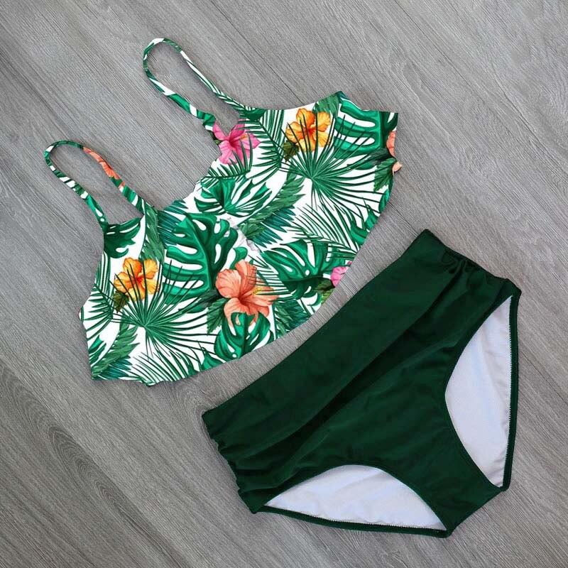 HTB15KouaVY7gK0jSZKzq6yikpXav 2018 Bikinis Women Swimwear High Waist Swimsuit Halter Sexy Bikini Set Retro Bathing Suits Plus Size Swimwear XXL