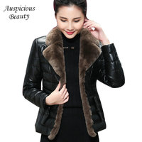 New Brand Women Winter Short Jackets Down Coat Rabbit Fur Collar Genuine Leather Coat Sheepskin Jacket Plus Size Outwear CXM364