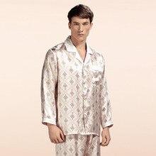 Оптовая продажа чистого шелка атласные пижамы продажи с длинным рукавом Для мужчин пижамы Пижамы для девочек Брюки для девочек 100% натуральный шелк пижамы комплект YE0019
