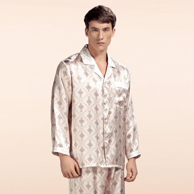Wholesales Pure Silk Satin Sleepwear Sale Long-Sleeve Men Pyjamas Pajama Sets Pants 100% Natural Silk Pajamas Set YE0019