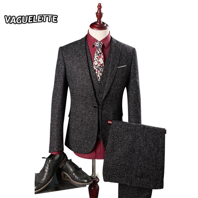 Blazer Pants Vest Tweed Mens Suits Wedding Groom Skinny Shine Stage Wear For Singer Classic