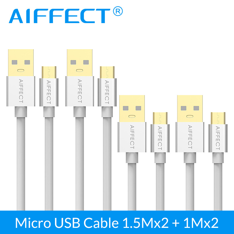 4 PCs 3.3FTx2 5FTx2 AIFFECT Atacado Cabo Micro USB De Alta Velocidade Micro-USB Cabo de Dados Micro B para USB cabo Cabo Cabo de Carregamento